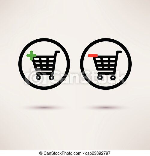Shopping cart icons. Plus and minus signs. Vector set. - csp23892797