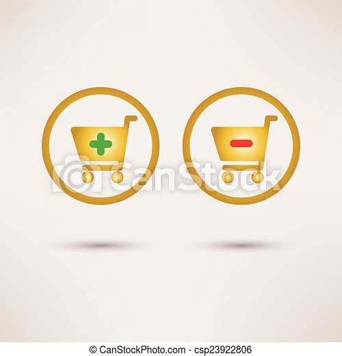 Shopping cart icons. Plus and minus signs. Vector set. - csp23922806