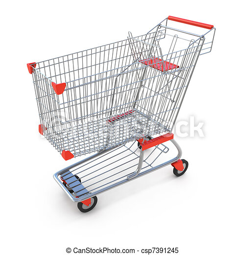 Shopping cart isolated on white - csp7391245