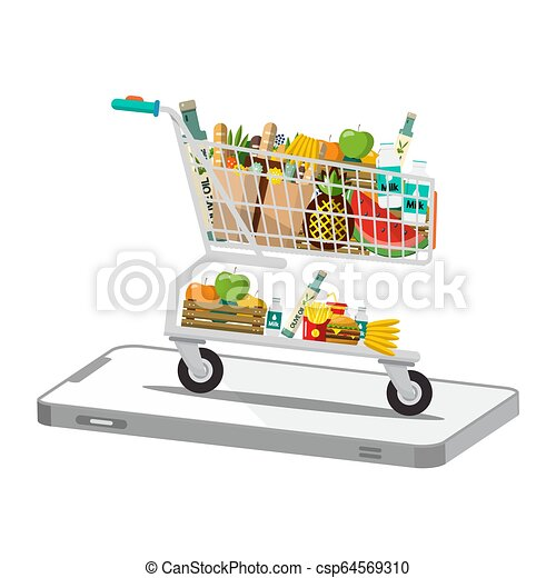 Shopping Cart - Trolley on Phone Isolated on White Background - csp64569310