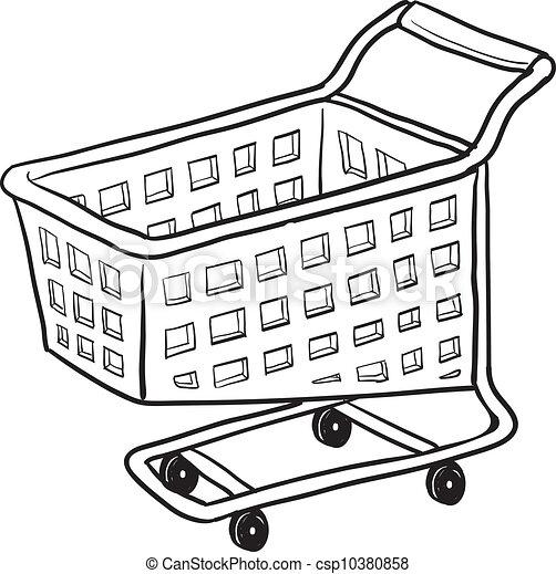 Shopping cart vector sketch - csp10380858