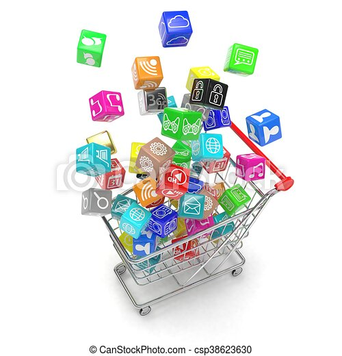 shopping cart with application software icons isolated on a white  background  3d rendering