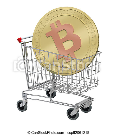 shopping cart with bitcoin isolated on white background - csp92061218