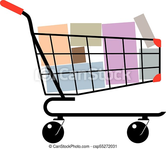 Shopping cart with boxes - csp55272031