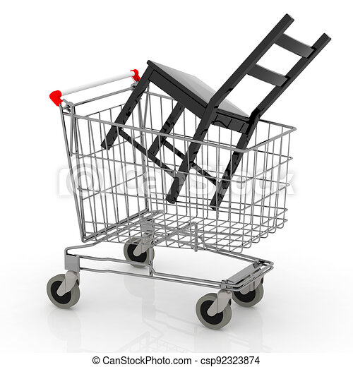 shopping cart with chair inside - csp92323874