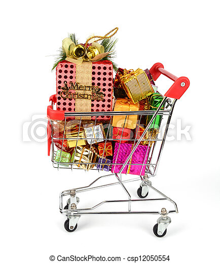Shopping cart with Christmas gifts and presents - csp12050554