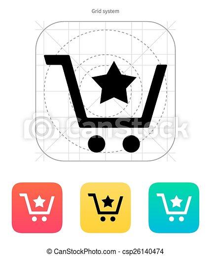 Shopping cart with favorites item icon. - csp26140474