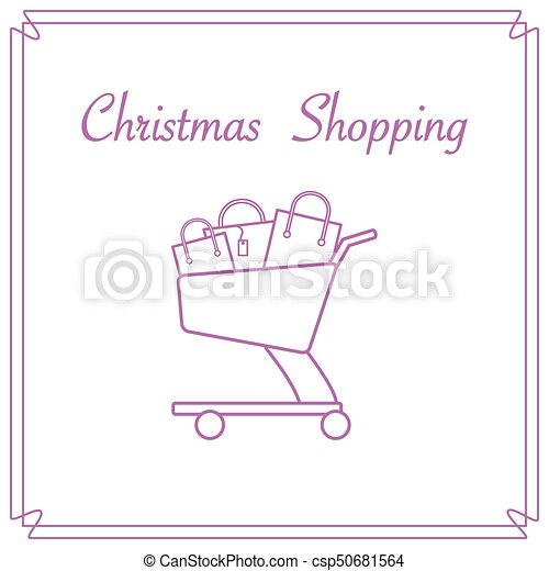 Shopping cart with gift bags. - csp50681564