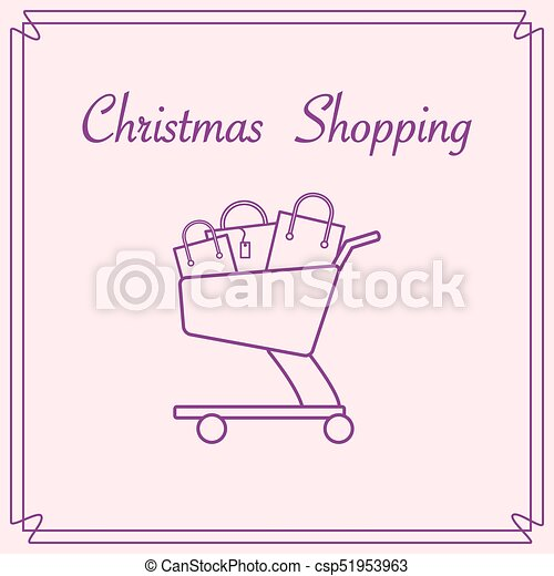 Shopping cart with gift bags. - csp51953963