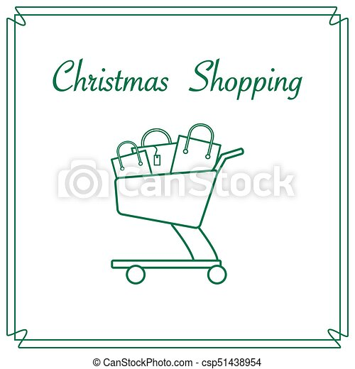 Shopping cart with gift bags. - csp51438954