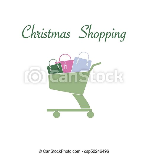Shopping cart with gift bags. - csp52246496