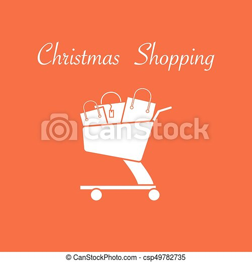 Shopping cart with gift bags. - csp49782735