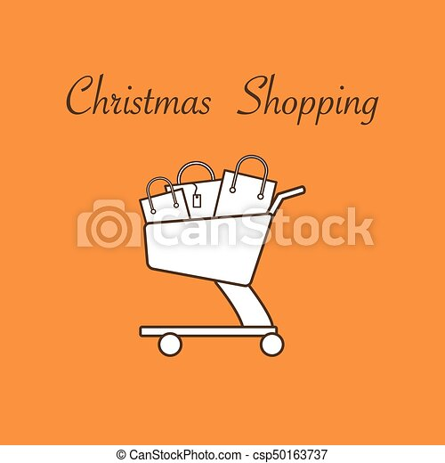 Shopping cart with gift bags. - csp50163737