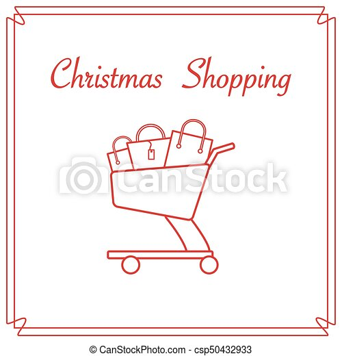Shopping cart with gift bags. - csp50432933