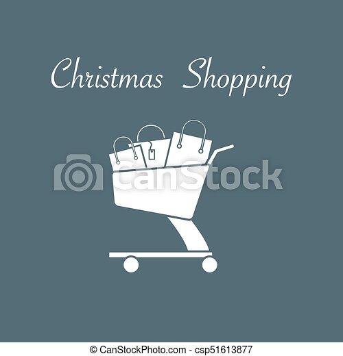 Shopping cart with gift bags. - csp51613877