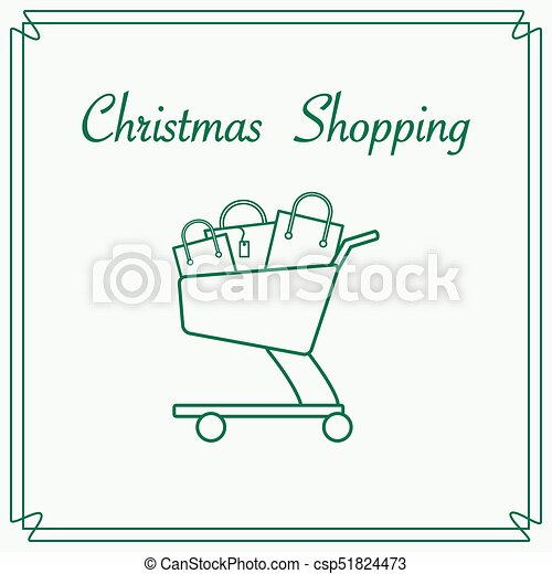 Shopping cart with gift bags. - csp51824473