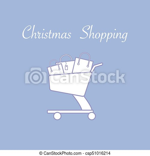 Shopping cart with gift bags. - csp51016214
