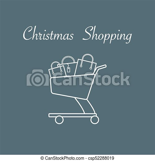 Shopping cart with gift bags. - csp52288019