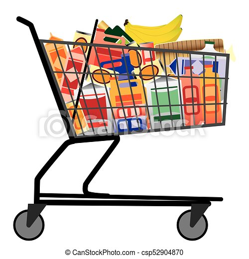 shopping cart with groceries grocery store shopping cart is filled rh canstockphoto ca full shopping cart clipart shopping cart clip art free