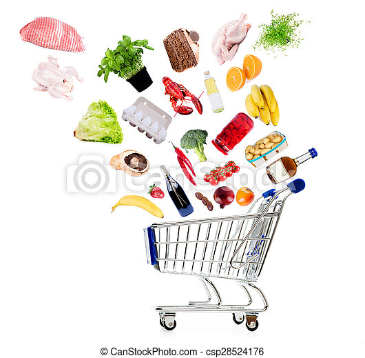 Shopping cart with grocery goods isolated on white conceptual shot - csp28524176