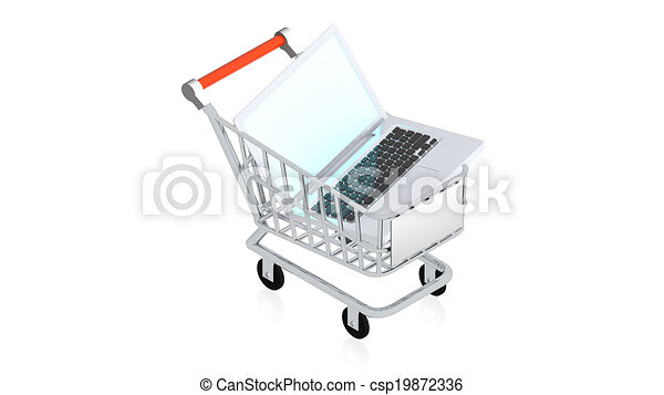 Shopping cart with item - csp19872336