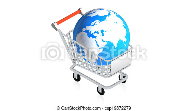 Shopping cart with item - csp19872279