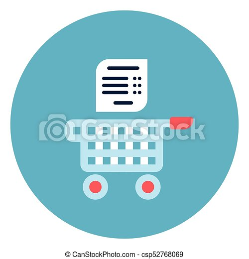 Shopping Cart With List Icon Web Button On Round Blue Background - csp52768069