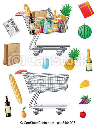 shopping cart with purchases and fo - csp8464996