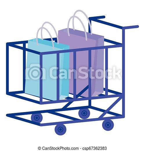 shopping cart with shopping bags - csp67362383