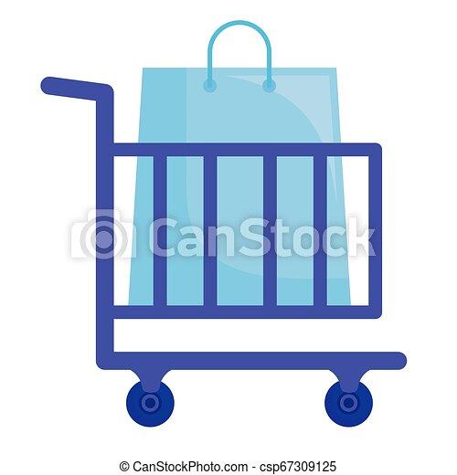 shopping cart with shopping bags - csp67309125