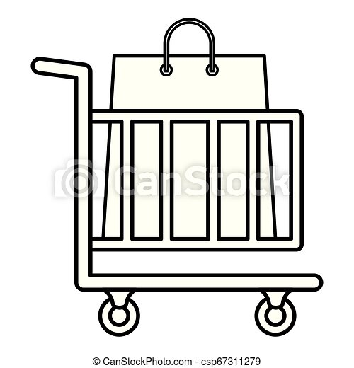 shopping cart with shopping bags - csp67311279