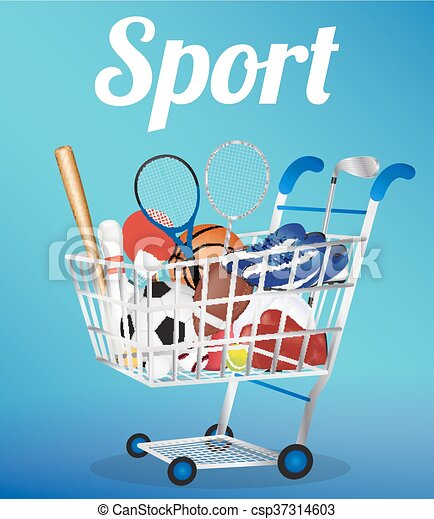 shopping cart with Soccer Ball Voll - csp37314603