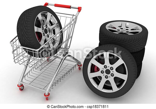 Shopping cart with wheels. Conception of purchase of repair parts for a car - csp18371811