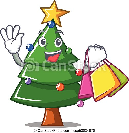 shopping christmas tree character cartoon vector vectors rh canstockphoto com  christmas shopping clipart free