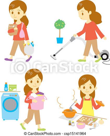 shopping, cleaning, washing, cookin - csp15141964