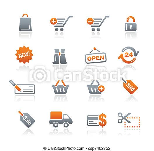 shopping correia fotorreceptora, grafita, /, ícones - csp7482752