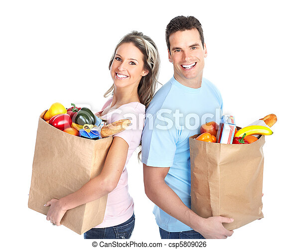 shopping couple with a bag of food - csp5809026