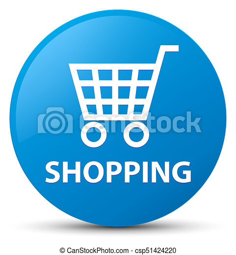 Shopping cyan blue round button - csp51424220