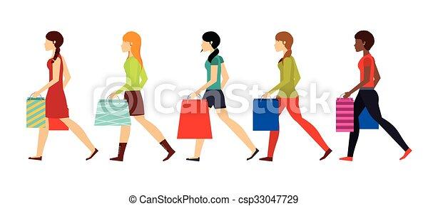 shopping, disegno, persone - csp33047729