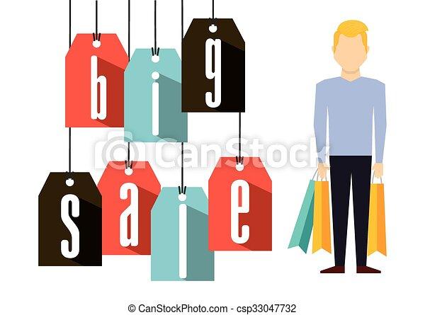 shopping, disegno, persone - csp33047732