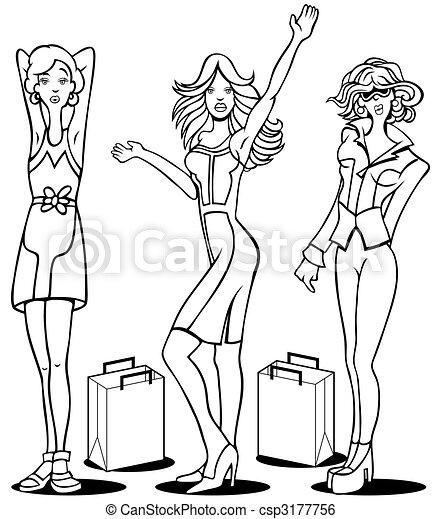 Shopping Divas Line Art - csp3177756