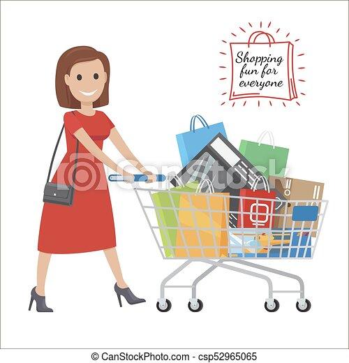f60a74f47c47 Shopping donna, everyone., carrello, divertimento, cartone animato ...