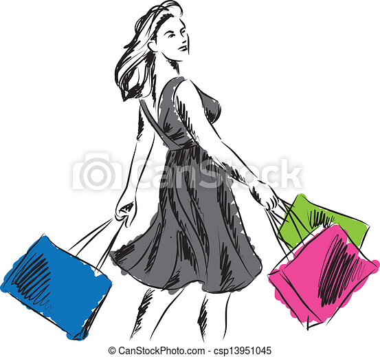 8bb756315de9 Shopping donna, illustrazione, tempo.