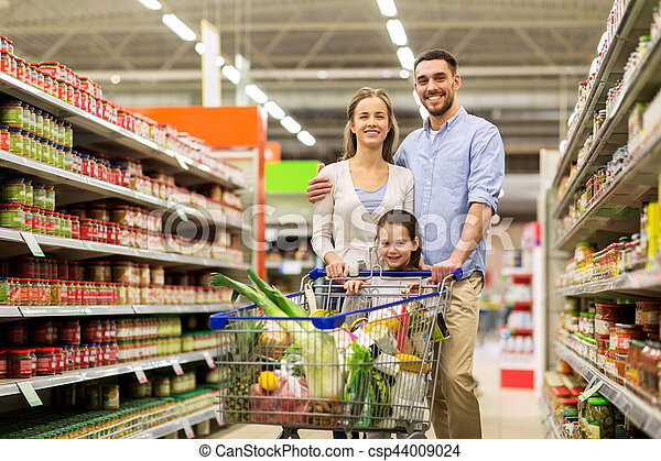 shopping drogheria, cibo famiglia, carrello, negozio - csp44009024