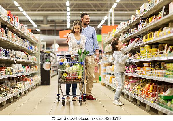 shopping drogheria, cibo famiglia, carrello, negozio - csp44238510
