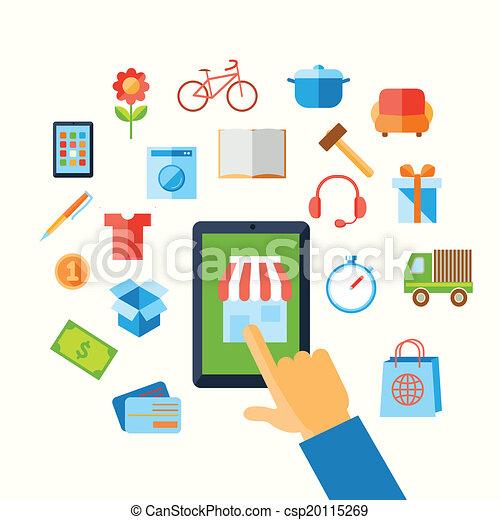 Shopping e-commerce hand concept - csp20115269