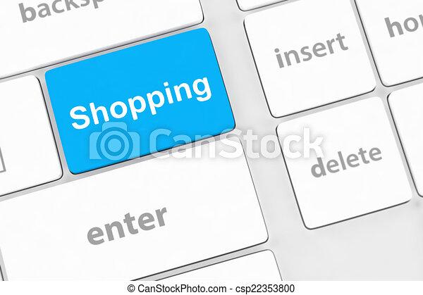 shopping enter button key on white keyboard - csp22353800