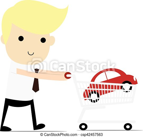 Shopping for a Home A man walking with a new car in his shopping cart. - csp42457563