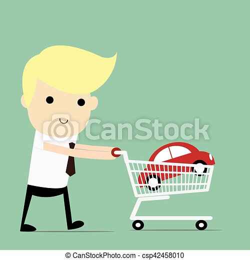 Shopping for a Home A man walking with a new car in his shopping cart. - csp42458010