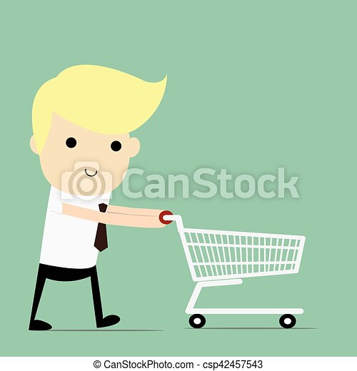 Shopping for a Home A man walking with shopping cart. - csp42457543